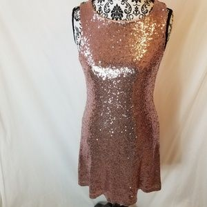Speechless Pink Full Sequin Fun Cut Out Back Dress
